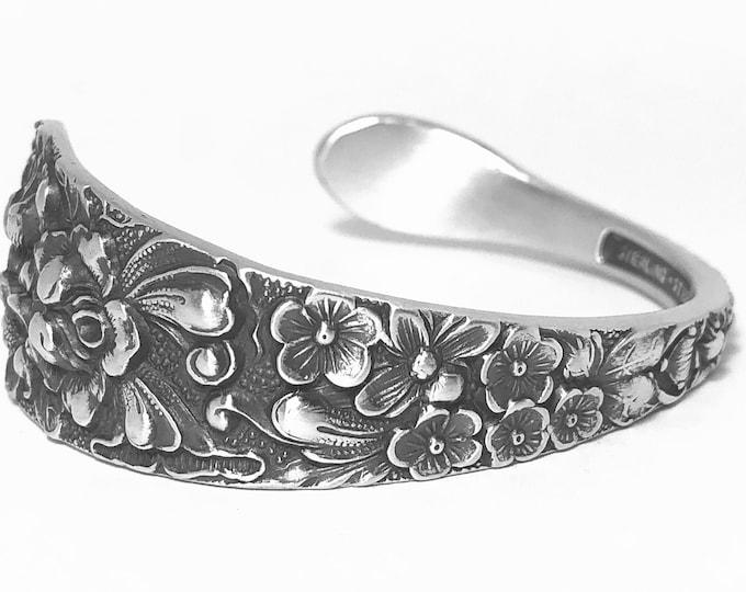 Rose Bracelet, Antique Sterling Silver Spoon Bracelet, Silver Floral Bracelet for Women, Antique Stieff Sterling 1892 Rose Bracelet (B7395)