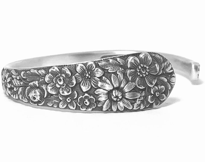 Slender Wild Flower Bracelet, 925 Vintage Sterling Silver Spoon Cuff, Alvin 1932 Bridal Bouquet, Adjustable Size 5 6 7, Gift for Her, 7392
