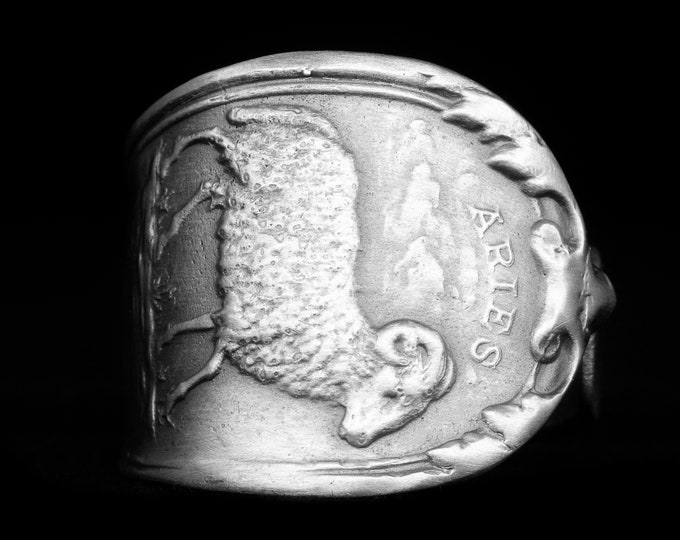 Aries Ring in Size 4.5, Spoon Ring Sterling Silver Pinky Ring, Zodiac Ram Ring, March or April Birthday Gift, 925 Horoscope Astrology (8077)