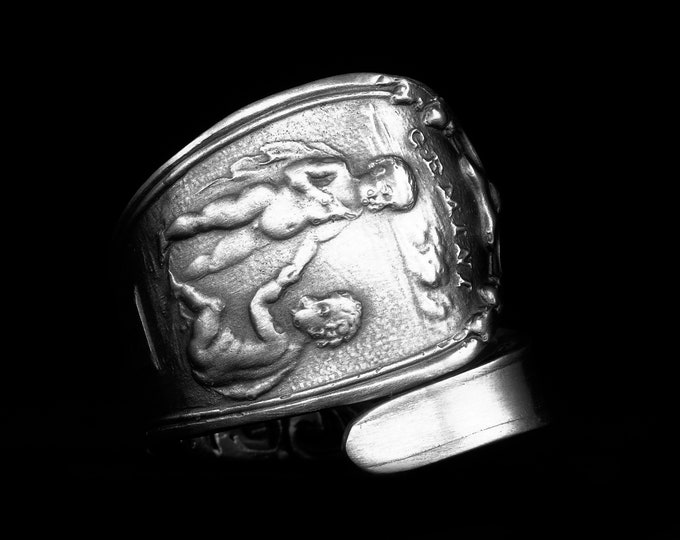 Gemini Ring, Spoon Ring Sterling Silver, Zodiac Ring, Twins Ring, Handmade Gift, Custom Ring Size, Astrology Ring, May Horoscope Ring (8014)