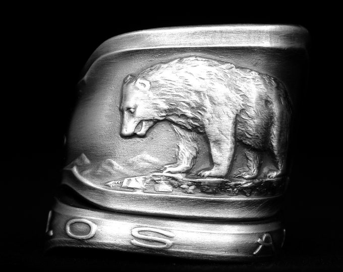 Vintage Pasadena California Bear Ring, Souvenir Sterling Silver Spoon Ring, Handmade Gift, Cali Lover Gift, Adjustable Size 6 7 8 9 (8098)