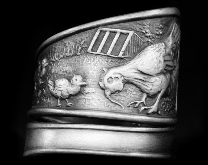Rare Chicken Ring, Antique Spoon Ring Sterling Silver, Hens & Chicks, Bird Ring, Farm Animal Ring, Adjustable Size, Chicken Lover Gift, 7949
