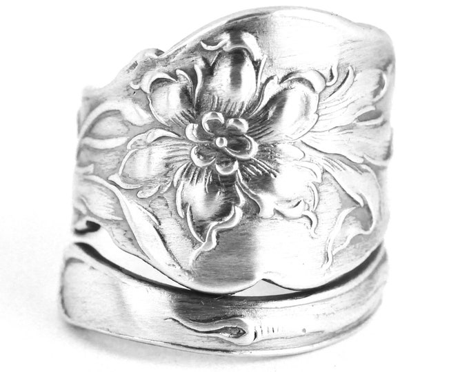 Unger Bros Narcissus Flower, Daffodil Ring, Sterling Silver Spoon Ring, Daffodil Jewelry, Wedding Ring Alternative, Custom Ring Size (7639)