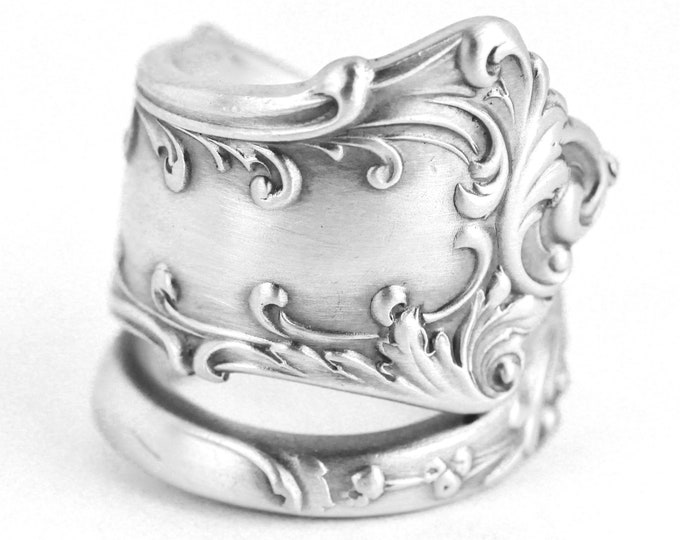 Fancy Floral Victorian Spoon Ring, Sterling Silver Chunky Statement Silver Ring, Unique 5th Anniversary Gift for Her, Adjustable Size (7641)