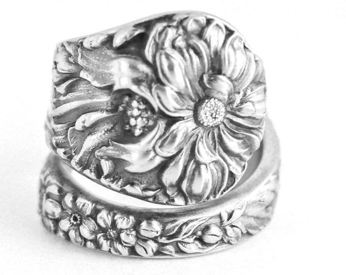 Wild Flower Ring, Antique Yetive Sterling Silver Spoon Ring, Mums, Poppy, Daisy Forget Me Not, Gardener Gift for Her, Adjustable Size (7654)