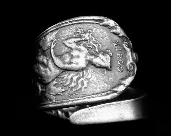 Handcrafted Virgo Zodiac Ring with Mermaid, Sterling Silver Spoon Ring, Double Tailed Siren, 925 Gift fo Her, Adjustable Size 6 7 8 9 (8015)