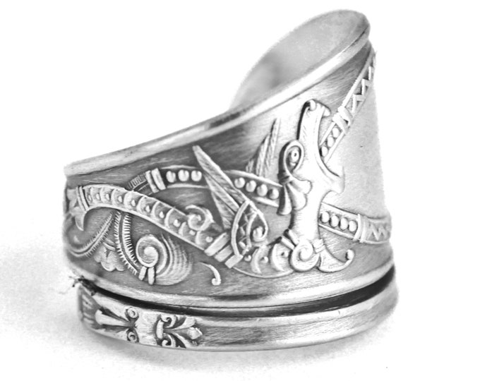 Nordic Design Dragon Ring, 830 Sterling Silver Spoon Ring, Norse Ring, Tribal Ring, Dragon Jewelry, Unique Silver Ring, Adjustable Ring 7636
