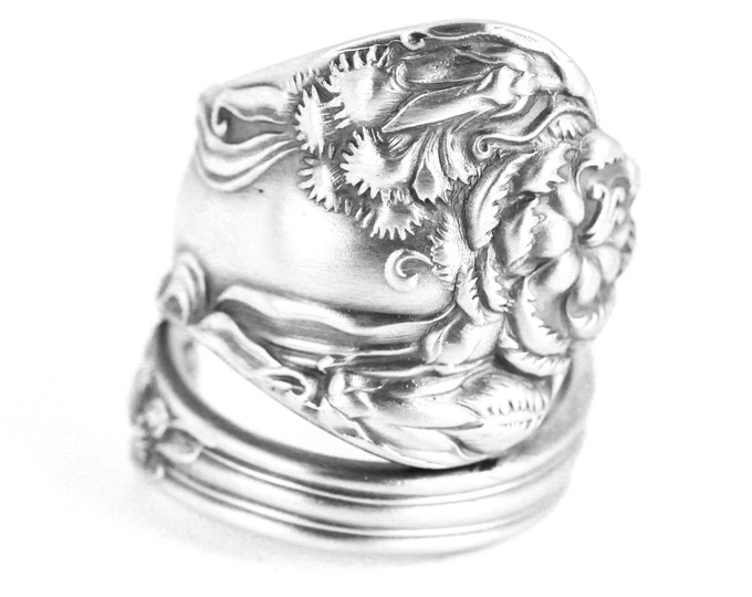 Silver Carnation Ring, Sterling Silver Spoon Ring, Floral Ring, Antique Carnation, Carnation Gift, Art Nouveau, Adjustable Ring Size (7652)