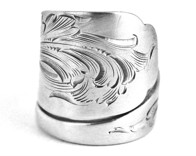 Beautiful Etched Ring, Sterling Silver Spoon Ring, Organic Swirls, Antique Engraved Shiebler and Co, Victorian Spoon, Adjustable Ring (7645)