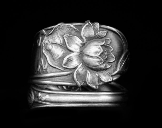 Lotus Blossom Ring, Sterling Silver Spoon Ring, Paye & Baker Pond Lily ca 1900, 5th Anniversary Gift, Rare Antique, Adjustable Size (7976)