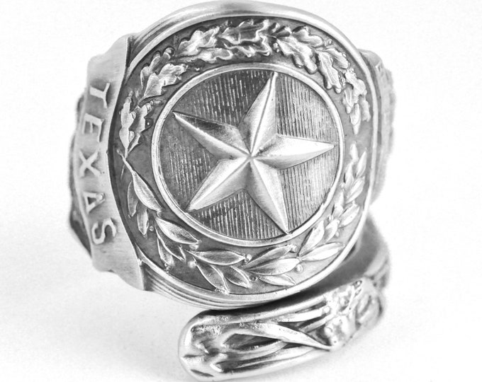 Texas Ring, Sterling Silver Spoon Ring, Texas Star Texas Love, Texas Longhorn Bull Handmade Jewelry, Eco Friendly, Adjustable Ring Size 7629