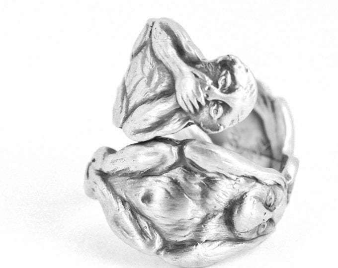 Three Wise Monkeys, Sterling Silver Spoon Ring, Hear No Evil, Speak No Evil, See No Evil, Animal Ring, Unique Gift Her, Adjustable Ring 7630