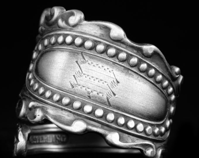 Victorian Ring, Sterling Silver Spoon Ring, Rococo Ring, Antique Watson 1895 Eugenie, Milgrain Silver, Mono W or M, Adjustable Size (7935)