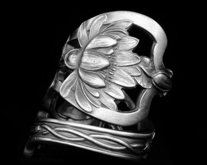 Stunning Pond Lily Ring, Antique Sterling Silver Spoon Ring, Art Nauveau Lotus Flower, Watson 1904, Gift for Her, Adjustable Ring Size, 8054