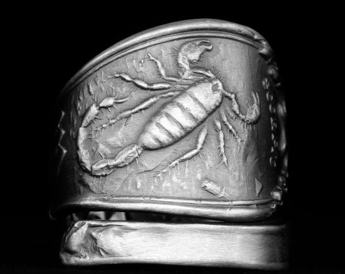 Scorpio Ring, Sterling Silver Spoon Ring, Zodiac Ring, Scorpion Ring, Handmade Gift, Custom Ring Size, Astrology Ring, Horoscope Ring (8034)