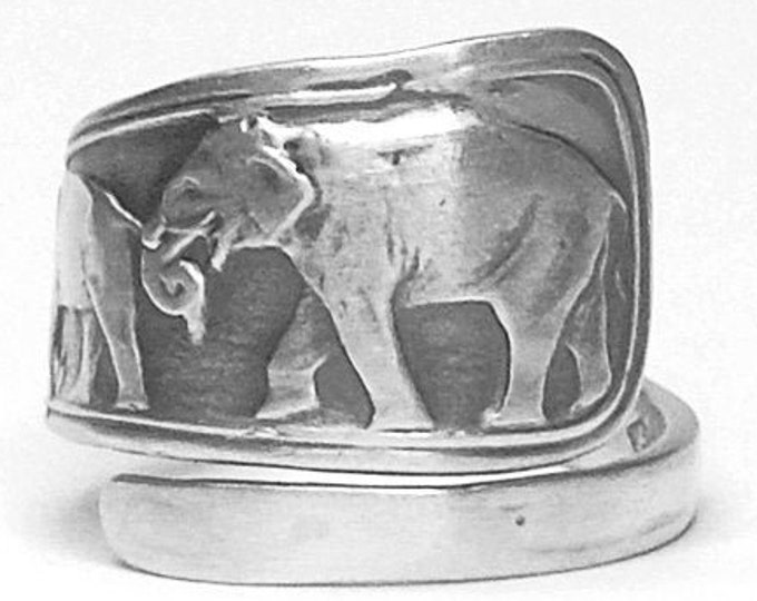 Elephant Ring, Sterling Silver Spoon Ring, Elephant Family Ring, Animal Ring, Silver Boho Ring, Elephant Lover Gift, Adjustable Size (7922)