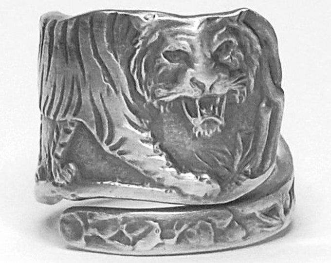 Asian Tiger Ring, Sterling Silver Spoon Ring, Cat Lover Gift for Her or Him, Big Cats, Wild Animal Ring, Adjustable Ring Size 4 5 6 7 (7921)