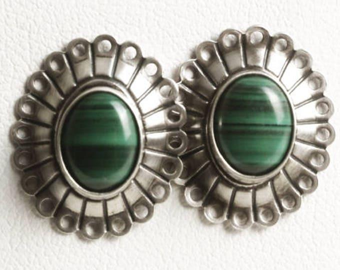 Vintage Sterling Silver Malachite Earrings, Green Malachite Stone, Southwestern Jewelry, 925 Boho Gift for Her, Green Stone Earrings (V6865)