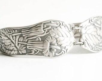 Honeysuckle Flower Bracelet, Sterling Floral Bracelet, Sterling Silver Spoon Bracelet, 925 Bracelet Size 7, Antique Wallace Silver (6810)