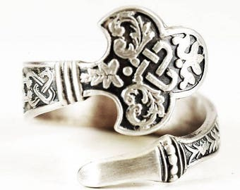 RARE Celtic Spoon Ring, Sterling Silver Spoon Ring, Antique Gorham's No.14 of 1885, Handmade Flatware Jewelry, Adjustable Ring Size (6736)