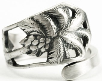 Palm Tree Ring, Florida Ring, Sterling Silver Spoon Ring, Beach Ring, Florida Palm, Gift for Him or Her, Adjustable Ring Size 7 8 9 10, 7234