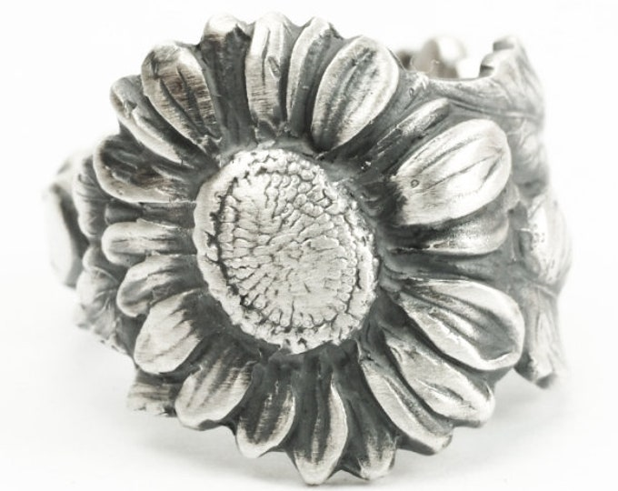 Sunflower Ring, Size 5.5, Sterling Silver Spoon Ring, Art Nouveau, Sunflower Jewelry, Thumb Ring, Floral Flower Ring, Adjustable Size (7214)