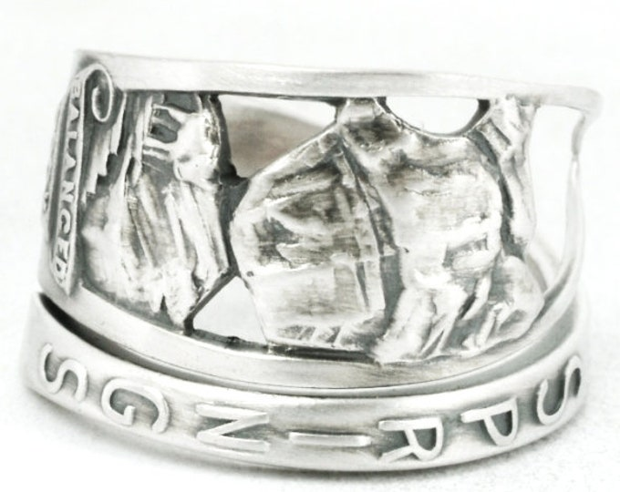 Sterling Silver Balancing Rock Garden Of the Gods National Park Spoon Ring, Colorado Ring, Colodaro Lover Gift, Ring Size 6 7 8 9 10 (7099)