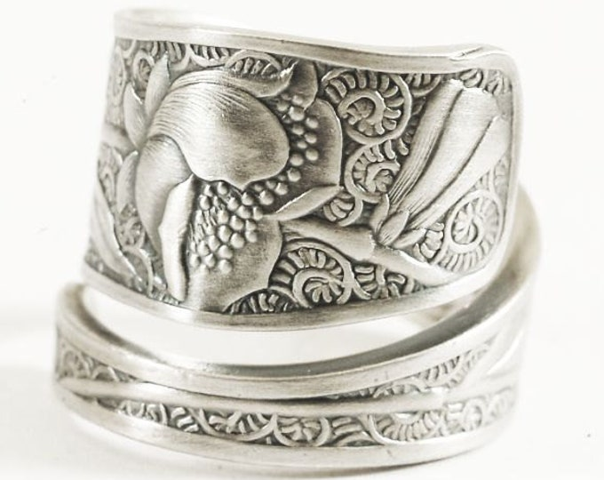 """Wild Poppy Ring, Sterling Silver Spoon Ring, Antique Towle """"Orchids"""" of 1887 Ring, Art Nouveau Wild Poppy, Handmade Custom Ring Size (7523)"""