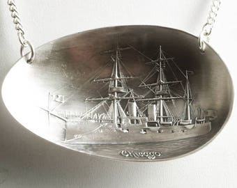 USS Chicago Battleship Necklace, Sterling Silver Spoon Bowl Pendant, Chicago Necklace, Vintage Navy Souvenir, Sailing Gift, Full Sail (6831)