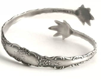 Buttercup Rococo Bracelet, Floral Bangle Bracelet, Antique Sterling Silver Spoon Bracelet, Sugar Tong, Gift Her, 5th Anniversary Gift (6700)