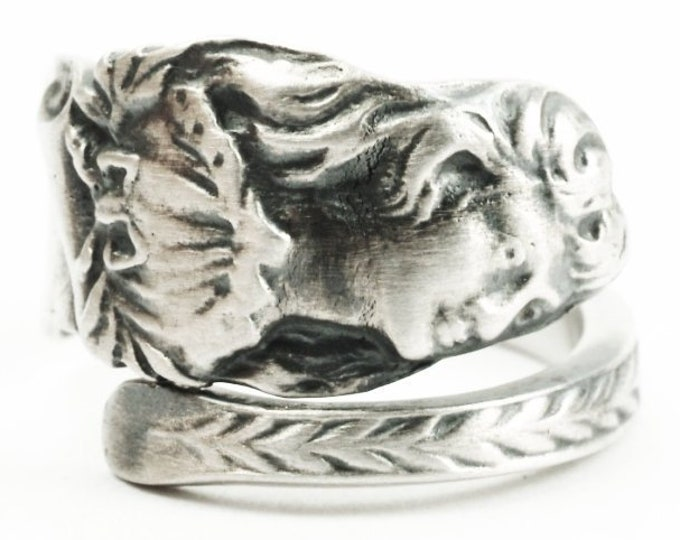 Rare Actress Effie Shannon Ring, Antique Gorham Sterling Silver Spoon Ring, Cameo Woman's Face, Adjustable, Unique Figurative Jewelry (7312)