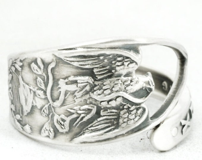 Vintage Mexico Spoon Ring in Sterling Silver, Mexico Eagle, Mexican Ring for Men or Woman, Handmade Gift, Ring Size 5 6 7 8 9 10 11 (7105)
