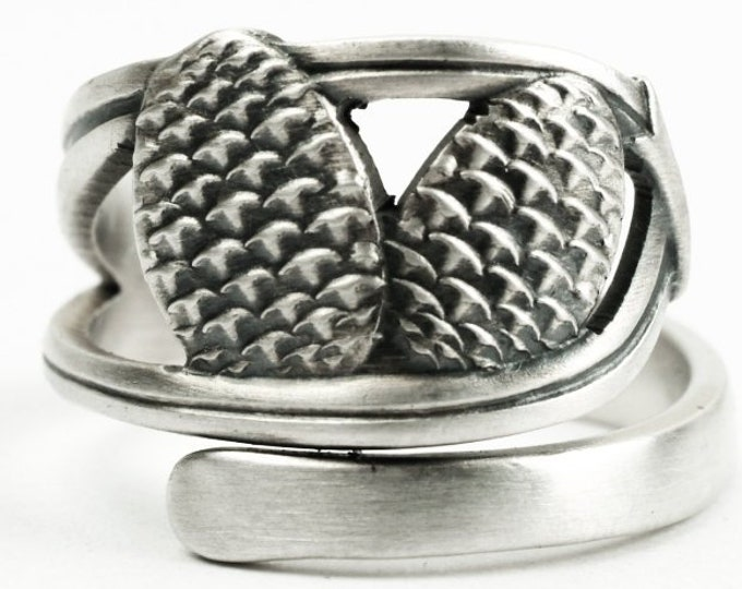 Vintage Pine Cones Ring, Ponderosa Pine Cone, Japanese 950 Sterling Silver Spoon Ring, Pinecone Ring, Nature Inspired, Adjustable Ring, 7224
