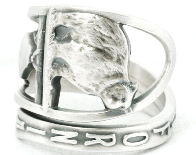 California Ring, Bear Ring, Sterling Silver Spoon Ring, Vintage Spoon, California Poppy, Animal Ring, Adjustable Ring Size, Cali Lover, 7090