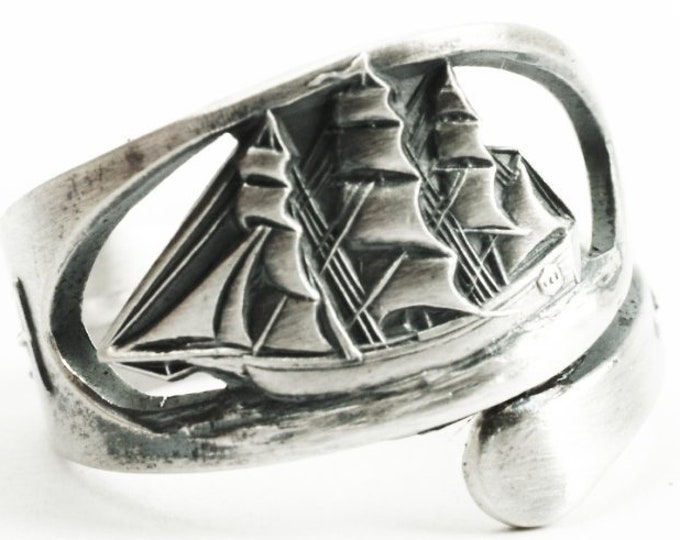 Sailboat Ring, Nautical Ring, Spoon Ring Sterling Silver, Pirate Sailing Boat, Beach Nautical Jewelry Fishing Gifts, Adjustable Size (7352)
