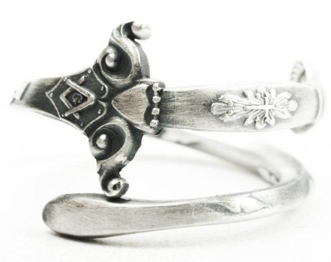 Antique Masonic Ring, Sterling Silver Spoon Ring, Knights Templar Ring, Knights Templar Jewelry, Mens Masonic Ring, Custom Ring Size (7388)