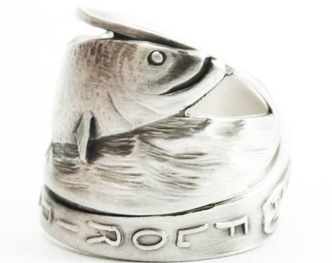 Florida Fish Ring, Sterling Silver Spoon Ring, Ocean Sea Beach Ring, Koi Fish Lover Gift, Tarpon FL Fly Fishing Ring, Adjustable Size (7372)