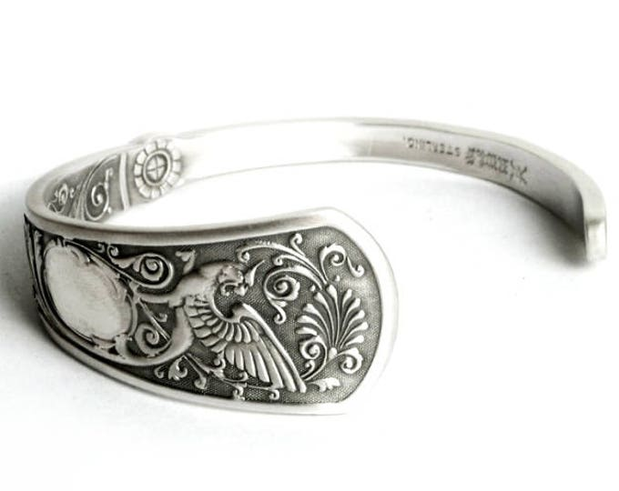 Griffin Bracelet, Gryphon Cuff Bracelet, Sterling Silver Spoon Bracelet, 925 Dragon Jewelry, Gift for Her or Him, Adjustable Ring Size, 6974