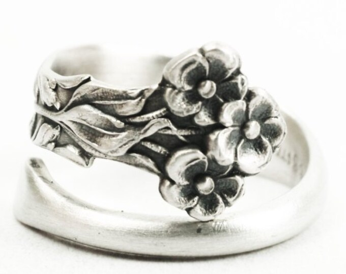 Elegant and Petite Forget Me Not Sterling Silver Spoon Ring in Gorham Pattern of 1895 No. 873, Handmade Adjustable to Your Small Size (7333)