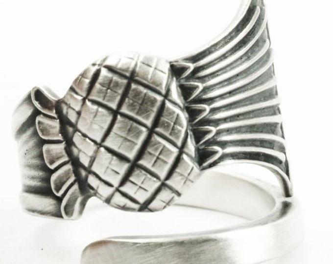 Vintage Scottish Thistle Ring, Thistle Jewelry, Spoon Ring Sterling Silver, Handmade Ring, Adjustable Ring Size, Nature Inspired Ring (7317)