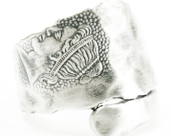 RARE Goddess Sterling Silver Spoon Ring, Zodiac Aries Horoscope, Gift for Him or Her, Greek Nike, Wood & Hughes Medallion, Adjustable (7288)