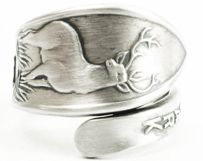 Teton Ntl Park Ring, Elk Ring, Sterling Silver Spoon Ring, Stag Animal Ring, Deer Wyoming, National Park Souvenir, Adjustable Size (7323)