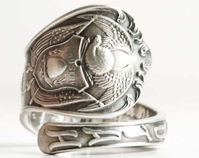 Utah Ring, 925 Vintage Sterling Silver Spoon Ring, Utah State Crest, Brigham Young, Angel Moroni, Eagle And Crest, Custom Ring Size (6750)