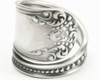 "Victorian Milgrain Sterling Silver Spoon Ring Mechanics Watson Pattern ""Somerset"", 5th Anniversary Gift Her, Handcrafted in Your Size (7180)"