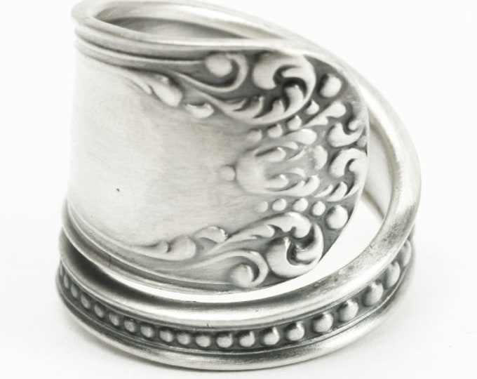 """Victorian Milgrain Sterling Silver Spoon Ring Mechanics Watson Pattern """"Somerset"""", 5th Anniversary Gift Her, Handcrafted in Your Size (7180)"""