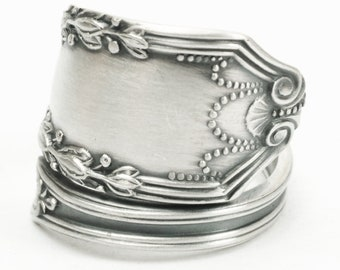 "Elegant Minimalist Ring, Sterling Silver Spoon Ring, Festive Lunt Sterling ca 1911 ""John Hancock"", Gift for Mom, Adjustable Ring Size (7182)"