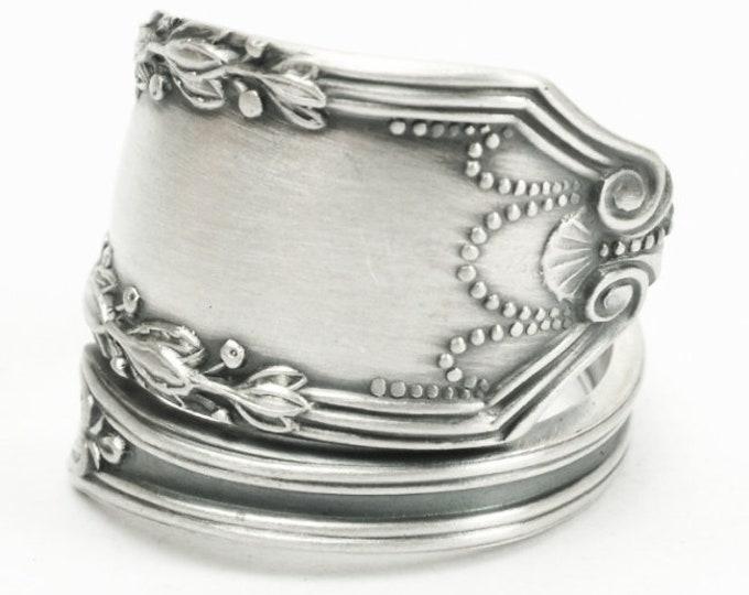 "Elegant Minimalist Ring, Sterling Silver Spoon Ring, Festive Lunt Sterling ca 1911 ""John Hancock"", Gift for Mom, Adjustable Ring Size (7182)"