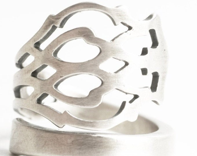 Unique Promise Ring, Sterling Silver Spoon Ring, Pierced Metal, Florentine, Wrap Ring, Handmade Ring Gift For Her, Adjustable Ring Size 7366