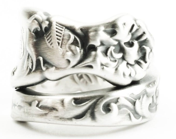 Heraldic Knight Sterling Silver Spoon Ring, Baroque Shining Armor, Letter F, Whiting Silver 1880, Handmade Ring, Adjustable Ring Size (7343)