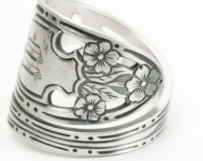 Rare Forget me Not Flower Ring, Sterling Silver Spoon Ring, Engraved M, Mono M, Antique Watson Silver, Handmade, Adjustable Ring Size (7176)